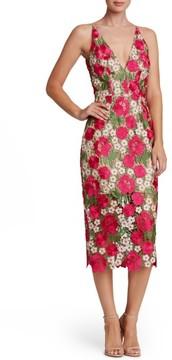 Dress the Population Women's Aurora Floral Crochet Midi Dress