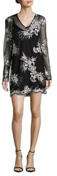 WAYF Long-Sleeve Embroidered Shift Dress