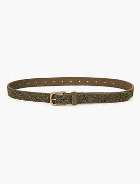 Lucky Brand Olive Suede Embroidered Skinny Belt