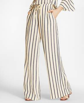Brooks Brothers Striped Linen Palazzo Pants