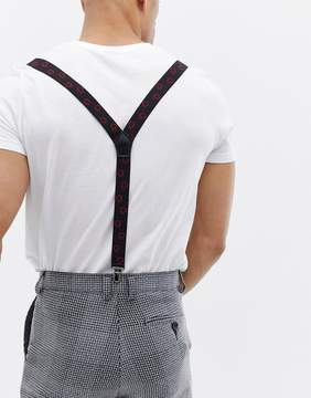 Asos Valentines Suspenders In Black With Love Hearts