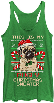 Fifth Sun Envy 'Pugly Christmas Sweater' Racerback Tank
