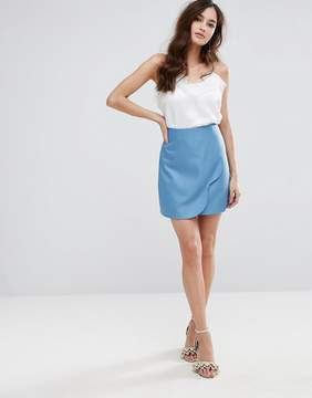 Fashion Union Wrap Front Mini Skirt With Scallop