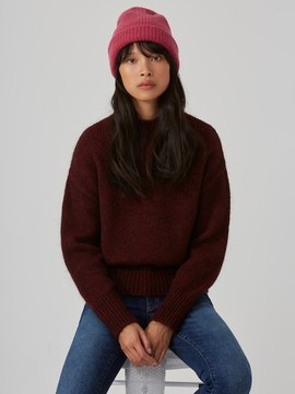 Frank and Oak Mohair-Wool-Blend Sweater in Goji Berry