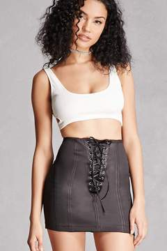 Forever 21 Kikiriki Lace-Front Mini Skirt