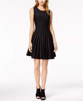 Bar III Metallic-Piping Fit & Flare Sweater Dress, Created for Macy's