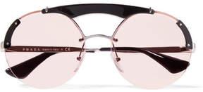 Prada Round-frame Acetate And Silver-tone Sunglasses - Pink