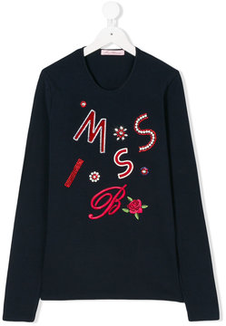 Miss Blumarine logo embellished sweatshirt