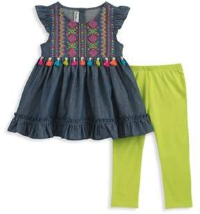 Kids Headquarters Baby Girl's Two-Piece Embroidered Cotton Tunic and Capri Leggings Set