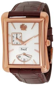Piaget Black Tie Emperador Silver Dial Brown Leather Men's Watch