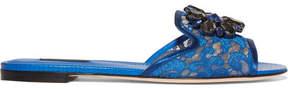 Dolce & Gabbana Embellished Corded Lace And Lizard-effect Leather Slides - Cobalt blue