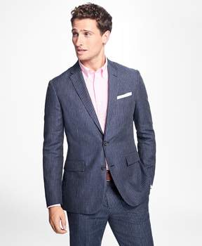 Brooks Brothers Two-Button Pinstripe Linen Suit Jacket