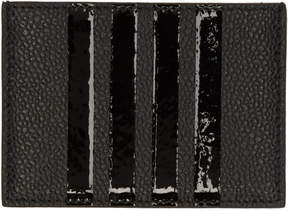 Thom Browne Black Patent Four Bar Single Card Holder