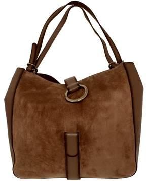 Michael Kors Women's Large Quincy Suede Shoulder Leather Messenger Bag Tote - Cinder - CINDER - STYLE