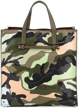Valentino Camo Leather & Fabric Tote Bag