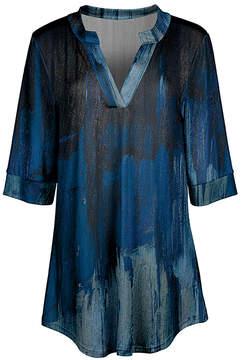 Azalea Blue & Black Abstract V-Neck Tunic - Women & Plus