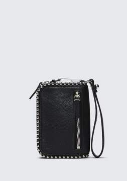 Alexander Wang LARGE FUMO WALLET IN PEBBLED BLACK WITH BALL STUDS