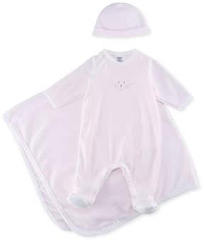 Petit Bateau 3-Piece Millerarie Stripe Cotton Layette Set, Pink/White, Size 1-9 Months