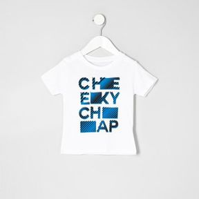 River Island Mini boys white cheeky chap T-shirt