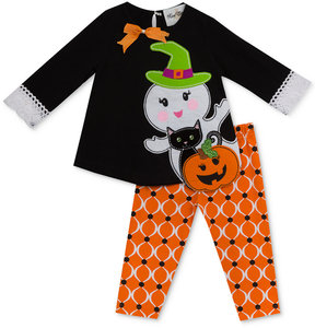Rare Editions 2-Pc. Ghost Top & Printed Leggings Set, Baby Girls (0-24 months)