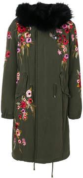 Amen floral embroidered parka coat