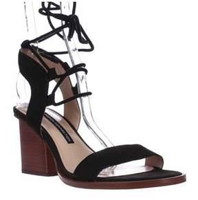 French Connection Jalena Lace Up Ankle Strap Sandals, Black/black.