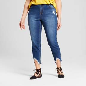 Almost Famous Women's Plus Size Sharkbite Cropped Skinny Jeans Juniors') Dark Wash
