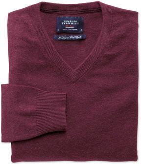 Charles Tyrwhitt Wine Cotton Cashmere V-Neck Cotton/Cashmere Sweater Size XS