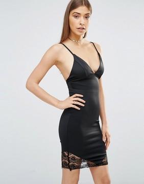 AX Paris Plunge Front Bodycon Cami Dress With Lace Hem