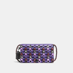 COACH DINKY IN EXOTIC LINK LEATHER - BLACK COPPER/VIOLET MULTI