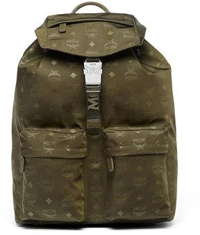 MCM Dieter Monogramed Canvas Backpack, Green