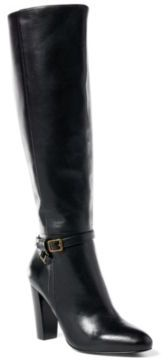 Ralph Lauren Valli Burnished Calfskin Boot Black 10