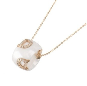Damiani 18K Rose Gold & Ceramic with Diamond D Icon Necklace
