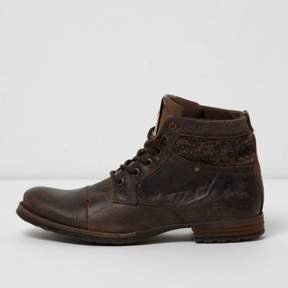 River Island Mens Brown mixed texture leather boots