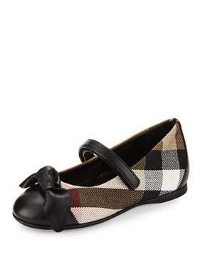Burberry Yaxley Check Mary Jane, Black, Youth