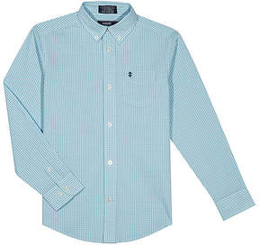 Izod Blue Gingham Button-Up Top - Boys