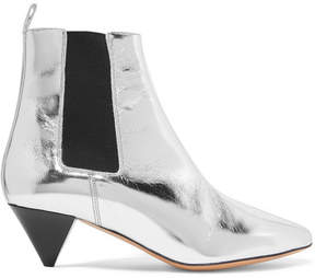 Isabel Marant Dawell Metallic Leather Ankle Boots - Silver