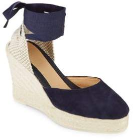 Manebi Low Wedge Leather Espadrille Sandals