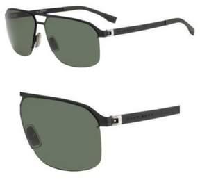 HUGO BOSS BOSS by Men's B0839s Rectangular Sunglasses, Matte Black/Gray Green, 61 mm
