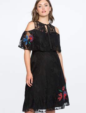 ELOQUII Cold Shoulder Dress with Applique