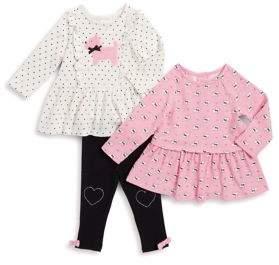 Little Me Baby Girl's Three-Piece Printed Dress, Plush Dog Dress, and Pants Set