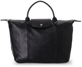 Longchamp Black Le Pliage Cuir Medium Satchel - BLACK - STYLE