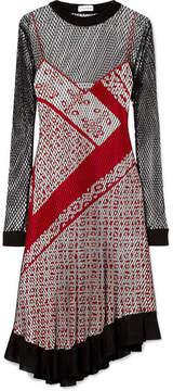 Altuzarra Kleber Layered Fishnet And Printed Silk Dress