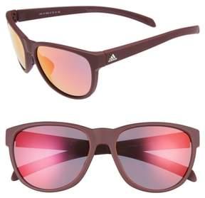 adidas Women's Wildcharge 61Mm Mirrored Sunglasses - Maroon Matte/ Red Mirror