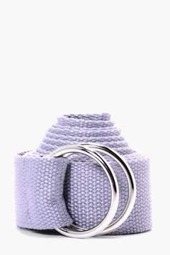 boohoo Grey XL Canvas Ring Fasten Belt