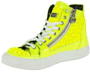 Philipp Plein Clever Hi-top Sneakers   Yellow Leather.
