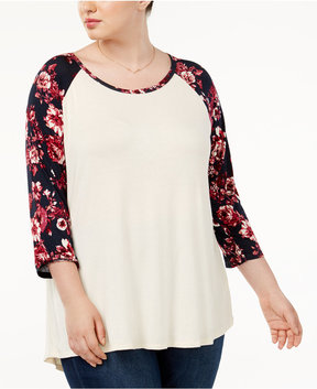 Eyeshadow Trendy Plus Size Baseball T-Shirt