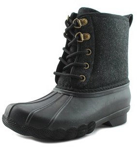 Tommy Hilfiger Charles Duck Youth Round Toe Synthetic Black Rain Boot.