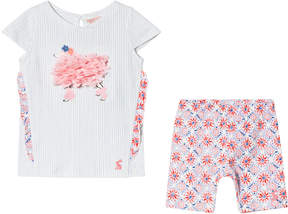 Joules White and Pink Poodle Frill Applique Tee and Mosaic Print Leggings Set