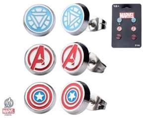 Marvel Stainless Steel Avenger Logo, Captain America, and Iron Man 3 pack Round Stud Earrings